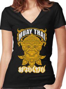 Muay Thai Hanuman Holy Fighter Martial Art Spirit Women's Fitted V-Neck T-Shirt