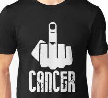 Fuck Cancer Middle Finger WHITE Unisex T-Shirt