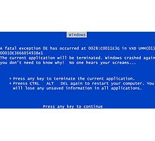 Blue screen of death Photographic Print