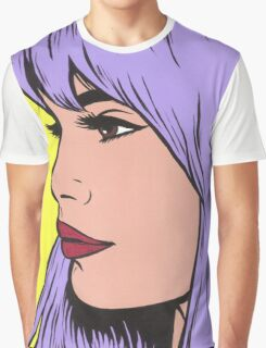 Pastel Purple Comic Girl Graphic T-Shirt
