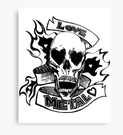 Metalhead Skull Love Canvas Print
