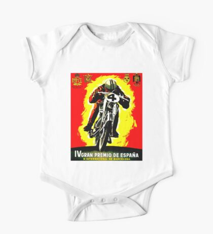 """SPANISH GRAND PRIX"" Motorcycle Racing Advertising Print One Piece - Short Sleeve"
