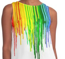 Rainbow Paint Drops on White Contrast Tank