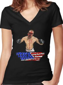 """I'M NOT SURPRISED Nate Diaz"" Women's Fitted V-Neck T-Shirt"