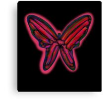 Red neon butterfly  Canvas Print