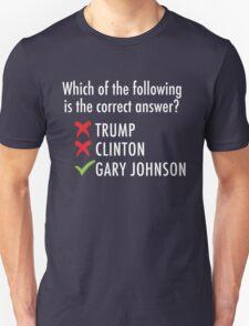 Gary Johnson for President 2016   Vote 3rd Party Unisex T-Shirt
