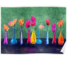 Poppies in Colorful Vases Poster