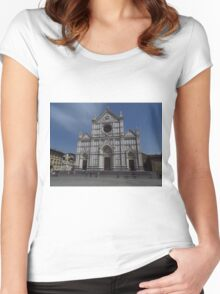 Santa Croce. Neo-Gothic Facade Women's Fitted Scoop T-Shirt