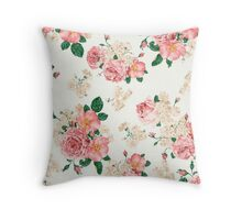 Vintage,floral,pattern,victorian,pink roses,wild flowers,shabby chic Throw Pillow