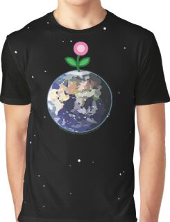 Pink Flower Sprouting On Spaceship Earth Graphic T-Shirt