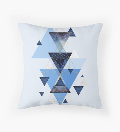 Geometric Triangle Compilation in Blue Throw Pillow