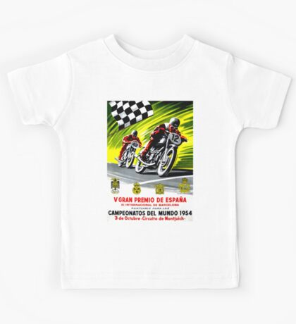 """SPANISH GRAND PRIX"" Vintage Motorcycle Advertising Print Kids Tee"
