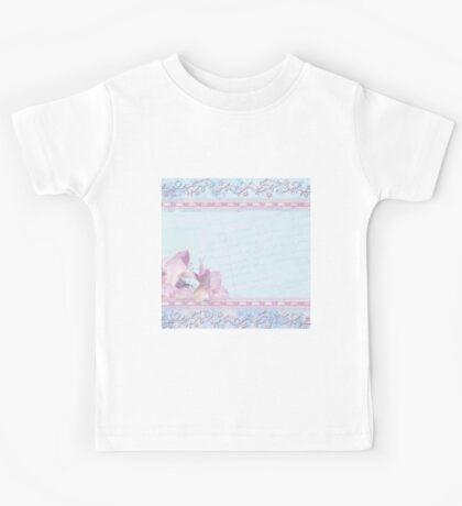 Baby blue,lace,silk,orchid,collage,mixed media,love letter,shabby chic,romantic,soft,mellow touch Kids Tee