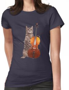 Cello Cat - Meowsicians Womens Fitted T-Shirt