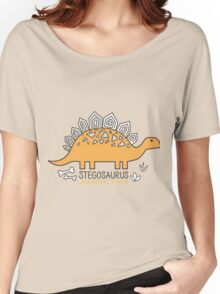 Dinosaurs, Jurassic Park. Adorable seamless pattern with funny dinosaurs in cartoon Women's Relaxed Fit T-Shirt