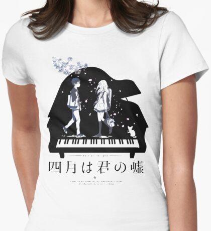 Shigatsu wa Kimi no Uso (transparent vers.) Womens Fitted T-Shirt