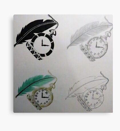 Clock & Feather Final Metal Print