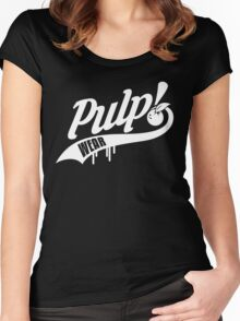 PULP! Baseball Swoosh White Women's Fitted Scoop T-Shirt