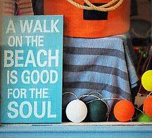 Beach Sign - Textured by Susie Peek