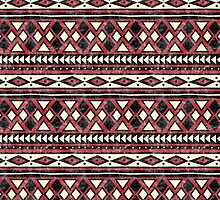 Black Red and Ivory African Pattern by ArtVixen
