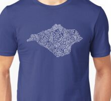 Hand drawn Isle of Wight map - white Unisex T-Shirt