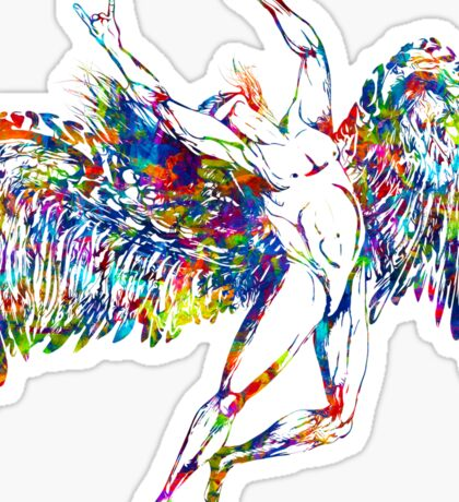 ICARUS THROWS THE HORNS - paint splotches NEW DESIGN Sticker