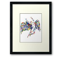 ICARUS THROWS THE HORNS - paint splotches NEW DESIGN Framed Print
