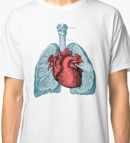 Red Heart and Lungs Human Anatomy art Classic T-Shirt