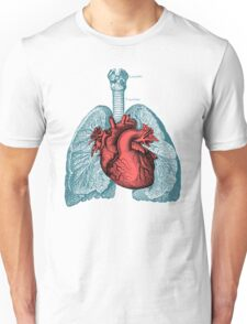 Red Heart and Lungs Human Anatomy art Unisex T-Shirt