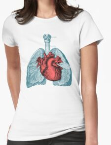 Red Heart and Lungs Human Anatomy art Womens Fitted T-Shirt