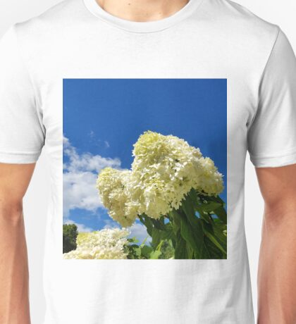 White clouds and white clouds of Hydrangea flowers Unisex T-Shirt