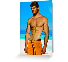 Cute guy at the pool Greeting Card