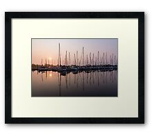 Shimmering Pinks - Silky Sunrise With Yachts Framed Print