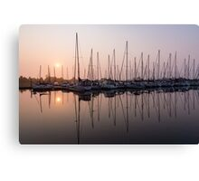 Simmering Pinks - Silky Sunrise With Yachts Canvas Print