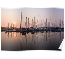 Shimmering Pinks - Silky Sunrise With Yachts Poster