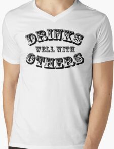 Drinks Well With Others Vintage Style Mens V-Neck T-Shirt
