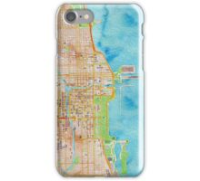 Chicago city center map oily water color iPhone Case/Skin