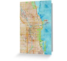 Chicago city center map oily water color Greeting Card