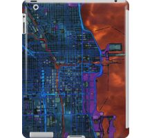 Chicago city center dark watercolor map iPad Case/Skin