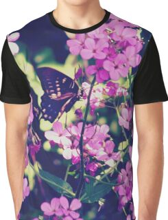 Butterfly and Flowers Graphic T-Shirt