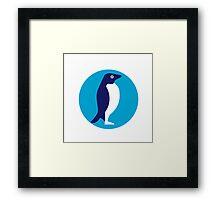 Adelie Penguin Circle Retro Framed Print
