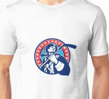 American Patriot Ice Hockey Stick Circle Retro Unisex T-Shirt