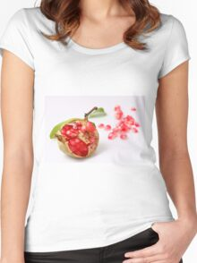 Open Pomegranate with seeds on white background Women's Fitted Scoop T-Shirt