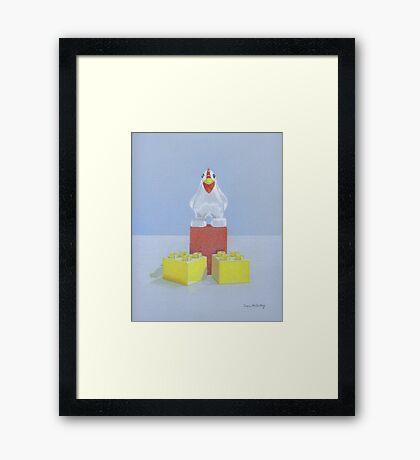 Duplo Chicken (red/blue) Framed Print