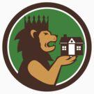 King Lion Holding House Circle Retro by patrimonio