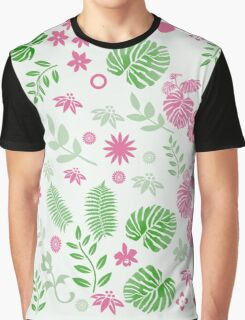 Tropical leaves and berries in Green and Pink Graphic T-Shirt