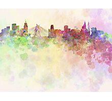 Sao Paulo skyline in watercolor background Photographic Print