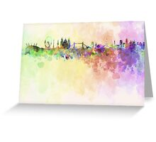 London skyline in watercolor background Greeting Card