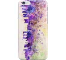 Singapore skyline in watercolor background iPhone Case/Skin