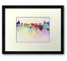 Rio de Janeiro skyline in watercolor background Framed Print